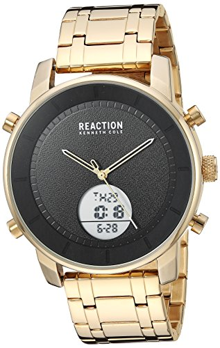 Kenneth Cole REACTION Men's 'ANA-Digit' Quartz Metal and Stainless Steel Watch, Color:Gold-Toned (Model: RK50083010) (Armbanduhr Herren Cole Gold Kenneth)