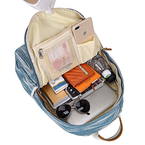 Artone Wasserabweisend Grösse Kapazität Daypacks Schulranzen Rucksack Mit Laptop-Fach Passen 14 Notizbuch Grün Grau Denim