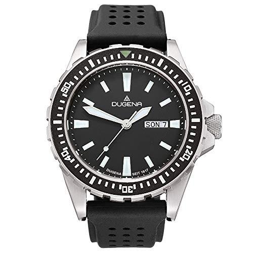 Dugena Herren Quarz-Armbanduhr, Gehärtetes Mineralglas, Wasserdicht bis 20 bar, Sportuhr, Schwarz/Silber, 4167821