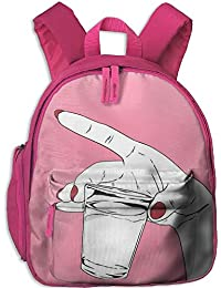 with A Red Nail Polish Hand with A Cup Kid and Toddler Student Backpack School Bag
