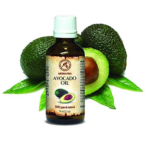 Avocado Öl, kaltgepresst und raffiniert, 100% naturreines und reines 50ml, Avocadoöl, Glasflasche, Basisöl, Südafrika, reich an Retinol, Vitamin E, Körperöl, intensive Pflege für Gesicht, Körper, Haare, Haut, Nägel, Hände, Anti-Falten /Anti-Aging, rein verwendet, gut mit ätherischem Öl / für Schönheit / Beauty /Aromatherapie / Entspannung / Massage / Wellness / Kosmetik / Körperpflege / Entspannung / unverdünntes / Spizenqualität / Geruchsfrei / Alternative Medizin von AROMATIKA