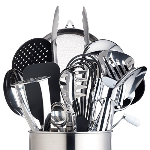 MasterClass Extra-Large Stainless Steel Kitchen Utensil Holder, 18 x 18 cm