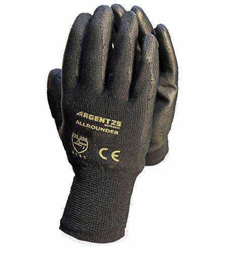 12 Paar Arbeitshandschuhe Montage-Handschuhe PU-Beschichtung | Größe XS - XXL | Nylon-Handschuhe nahtlos | wasserabweisende Grip-Handschuhe | Schutzhandschuhe + atmungsaktiv + rutschfest + reißfest + EN388