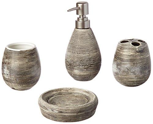 Badezimmer-Set, 4-teilig, Seifenschale, Seifenspender, Zahnbürstenhalter, Becher