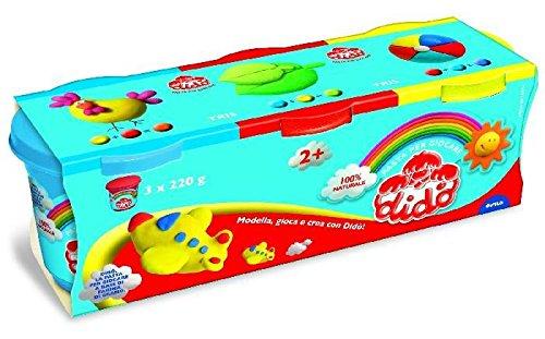 Didò 390460 - tris barattoli 220 g (azzurro- rosso-giallo)