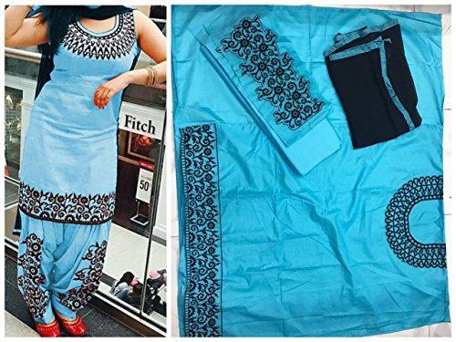 Cotton Machine Work Blue Unstitched Patiala Suit