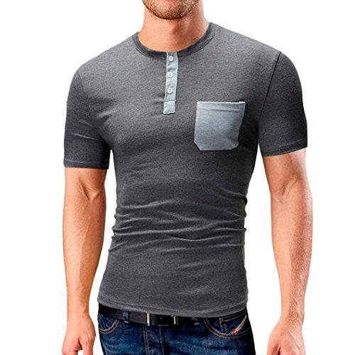 Herren-Sommer-T-Shirt-Casual-V-Kragen-Bluse-O-Ausschnitt-Solid-Button-Tops-Kurzarm