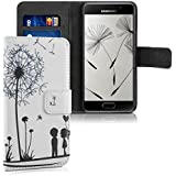 kwmobile Étui en cuir synthétique chic pour Samsung Galaxy A3 (2016) avec fonction support pratique. Design pissenlit amour en noir blanc