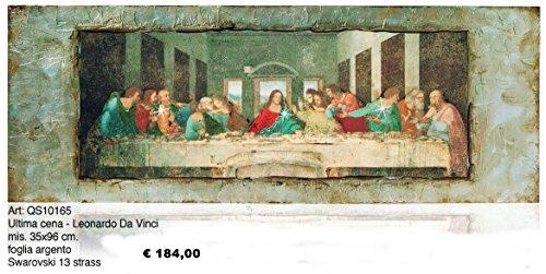 Bild Das letzte Abendmahl von Leonardo da Vinci cm 35x 96Blatt silber auf Holz 13Strass Swarovski Made in Italy