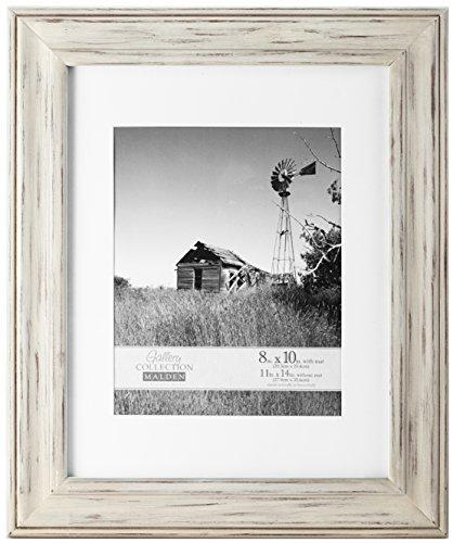 Holz Bilderrahmen Großhandel (Malden International Designs Whitman White Wash mattierte Holz Bilderrahmen, 8x 10/11x 14, weiß)