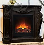 Casa-Padrino Baroque Stone Fireplace Black with Electric Insert - Electric Fireplace - Living Room Antique Style Art Nouveau Fireplace