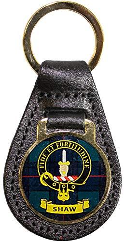 I Luv LTD Leder Schlüsselanhänger Scottish Clan Crest Shaw Scottish gemacht -