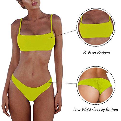 Summer Mae Damen Sexy Bikini Set Bustier Zweiteile Push-Up Bademode Grün XXL