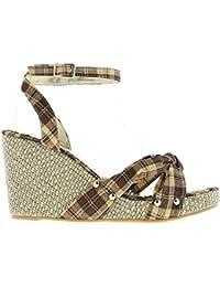 Cuña sandalias marrón y oro tacón mujer 9,5 cm