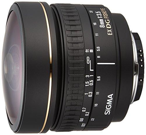 Sigma 8mm f3.5 Circular Fisheye EX DG NAF - Objetivo para Nikon (distancia focal fija 8mm, apertura f/3.5) color negro