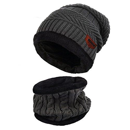 Aibrou Herren Wintermütze Warm Beanie Strickmütze und Schlauchschal mit Fleecefutter Grau