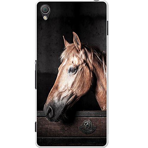 fancy a snuggle custodia rigida per telefoni cellulari, cavallo marrone elegante, plastica, brown horse in stable, sony xperia z3 plus