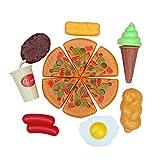 MagiDeal 8 Stück Kunststoff Kinder Küchenspielzeug Essen Set, Inkl. Pizza, Getränk, Ei, Eis, Steak, Brot, Huhn, Schinken - Mehrfarbig