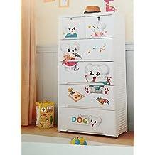 Cómoda infantil, blanca DOG para la habitacion de tu bebé de polipropileno,4 cajones grandes y 2 cajones pequeños, cajonera. mueble auxiliar, altura 131 cm