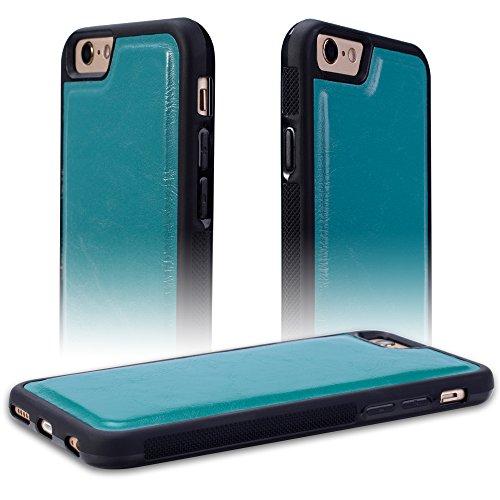 Coque Magique iPhone 6 Plus/6s Plus SHANSHUI Étui à Clapet 2 en 1 Portefeuille de Protection Housse à Rabat Sensible à La Chaleur avec Coque Arrière en TPU+PC (i6 Plus Rouge-Jaune) Turquoise