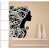 Zbzmm Wallsticker Home Bedroom Wall Sticker Bedroom Romantic Girl Silhouette Decal Beauty Hair Spa Salon Decor Vinyl Art Decoration 56 * 79Cm