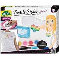 Lena 42598 - Bastelset Textile Styler Print, mit Rahmen, 2 Gewebe für Siebdruck, 4 Textilfarben, Pinsel, Konturenstift- und Farbe und Rakel, Mode Styling Set für Kinder ab 8 Jahre, Siebdruck Set für waschmaschinenfeste Gestaltung von Textilien