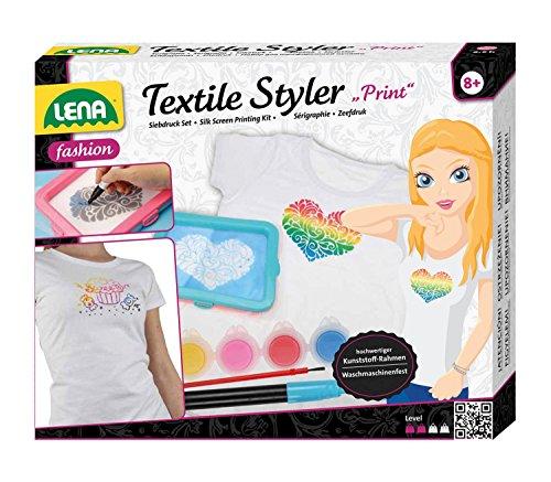 et Textile Styler Print, Siebdruck Set mit Rahmen, 2 Gewebe für Siebdruck, 4 Textilfarben, Pinsel, Konturenstift- und Farbe und Rakel, Mode Styling Set für Kinder ab 8 Jahre ()