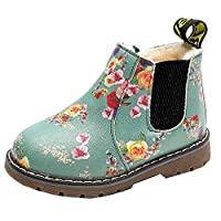 Anglewolf Children Fashion Boys Girls Sneaker Boots Autumn Winter Warm Thick Baby Kids Unisex Casual Floral Printing Zipper Up Shoes Leather Snow Shoes(Green-Cotton,10 UK)