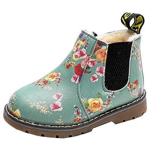 Bottines Fille Enfant ☂☃ Noël Enfants bébé Filles Chaussures de Coton imprimé Bottes Martinchaussures Anti-dérapantes Bottes Courtes