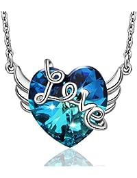 1345c0d67bba3 EUDORA - Pendentif en forme d ailes d ange avec cœur bleu océan -