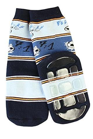 Weri Spezials Unisexe Enfants ABS Eponge 7:1 Fan de Chaussettes Pantoufle Chaussons Antiderapants 5-6 Annees (27-30) Marine/Bleu/Jeans