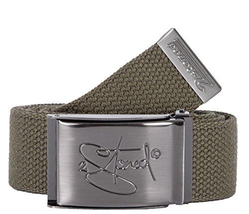 2Stoned Tresor-Gürtel Geldgürtel Olive 4 cm breit matte Schnalle Classic, Safe Belt für Damen und Herren (2 Web-gürtel)