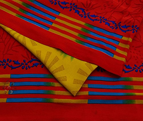 Vintage Crepe Seide Saree Rote Blumenmuster Sari Craft Fabric Ethnic Gebraucht 5 Yds Crepe Saree