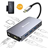 USB-C-HUB, DesertWest 9 in 1 USB Typ C Adapter auf HDMI, Gigabit Ethernet Port, 4 USB 3.0 Ports, USB C Ladeanschluss 90W Power Delivery, SD/Micro SD Kartenleser USB-Type-C-Hub für Macbook, Macbook Pro