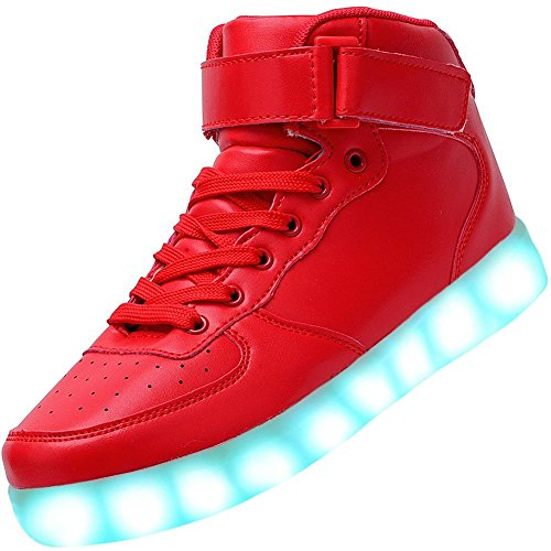 Fortuning's JDS Adulte Unisexe USB chargeant Haut de page Sneakers lumineux LED clignotante Velcro Chaussures Rouge