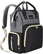 Diaper Bag Backpack Waterproof Large Capacity Insulation Travel Back Pack Nappy Bags - Black & Grey