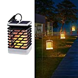 #6: Quace Flickering Flame Torch Lights Solar Powered Lantern Hanging Decorative Atmosphere Lamp for Pathway Garden Deck Christmas Holiday Party Waterproof Auto On/Off