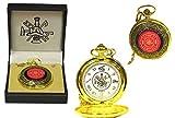 Unbekannt Runde Feuerwehr Taschenuhr gold mit Feuerwehrsymbolen in Geschenkbox Uhr