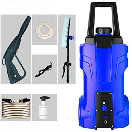 FENG Strahlrohr Hochdruckpistole, 120 bar Hochdruckreiniger (12 V-Motor, 7 m Hochdruckschlauch), Blau, Gelb,Blue