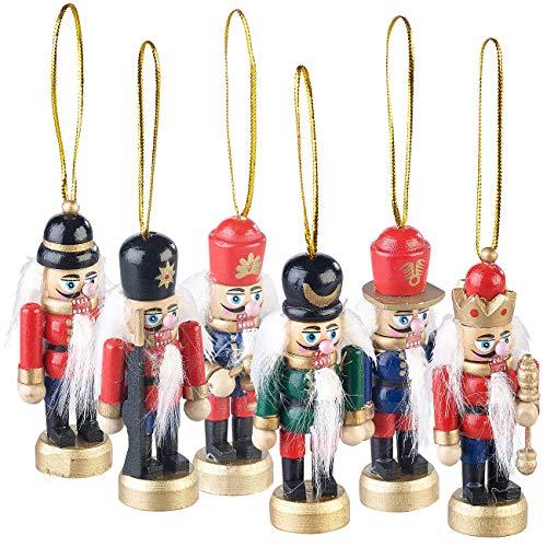 infactory Weihnachtsbaumanhänger: 6er-Set Holz-Weihnachtsbaum-Schmuck Nussknacker, handgefertigt, 8 cm (Adventsdekoration)