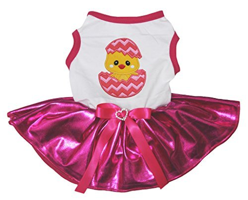 Riss Kostüm Shirt - Petitebella Puppy Kleidung Hund Kleid Ostern Küken Ei Weiß Shirt Hot Pink Tutu, X-Large, Rose