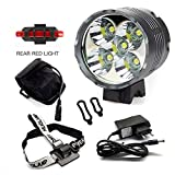 Luci Per Bici, YEHOLDING 7000 Lumen 5 x CREE T6 XM-L LED Bici Luce/ Luci per bicicletta / Bike Lights / Ricaricabile LED Luce Della Bici Set [Luce Anteriore + Luce Posteriore], Batterie Incluse, Per Bicycle Ciclismo MTB ,Camping, Hiking, Caving Expedition (X5)