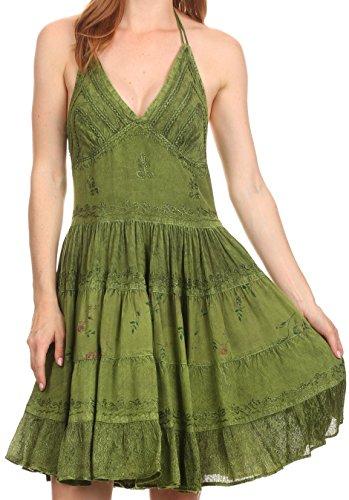 Sakkas Laye court Halter réglable Top Floral brodé Batik Robe Cercle Vert