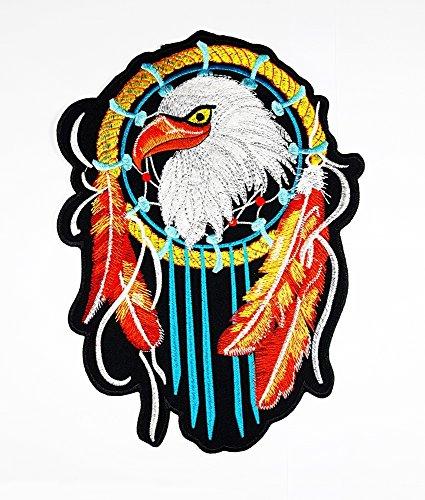 rabana XXL Eagle Hawk Dreamcatcher Indian Motorrad Chopper Rider Biker Club Patch für Heimwerker Bone Ghost Hog Outlaw Hot Rod Motorräder Rider Lady Biker Jacket T Shirt Patch Sew Iron (Hot Kostüme Indian)