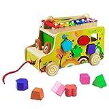 Bus Ziehen und Holz Tiere Blöcke Spielzeug mit Xylophone Formen Sortier Nachziehspielzeug für Kinder Jungen Mädchen(Style B)