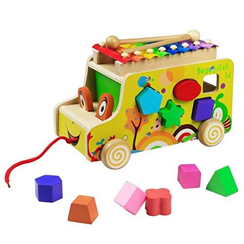 Bus Ziehen und Holz Tiere Blöcke Spielzeug mit Xylophone Formen Sortier Nachziehspielzeug für Kinder Jungen Mädchen(Style B) (Interaktives Behandeln Spielzeug)