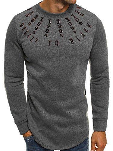 ozonee Felpa uomo maglietta maniche lunghe motivo Breezy 171589 Grigio scuro