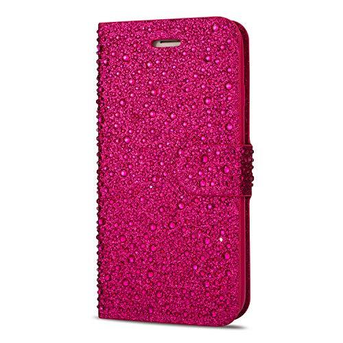 ZCDAYE Sparkly Diamond Flip Hülle für iPhone 6 Plus iPhone 6S Plus,Bling Glitter Magnetisch Folio PU Leder Cute Case mit [Kartensteckplätze] Standfunktion Schutzhülle[Rose Rot]