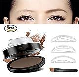 Augenbrauenpuder für Frauen, eine wasserfeste, lange haltbare Form in Sekunden - 3 Brauenformen und Brauenbürste...