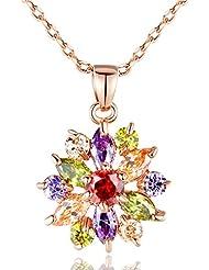 Wostu 2016 colgantes de los collares de la flor con alta calidad de circón cúbico para las mujeres Regalo de cumpleaños